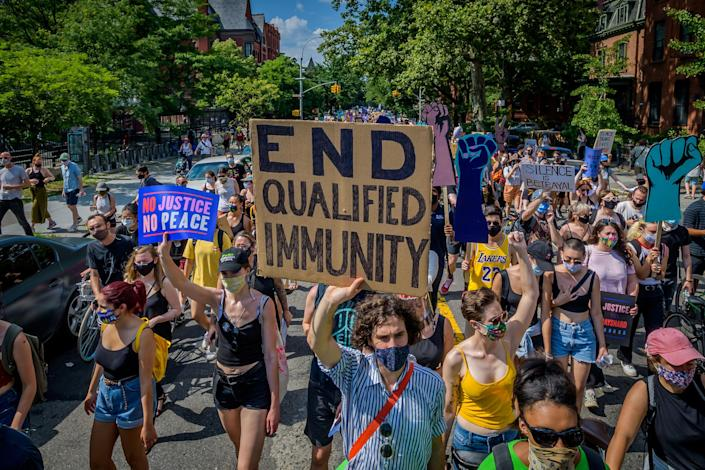 New Yorkers joined the Coalition to Honor Black and Indigenous Activists at Fort Greene Park in Brooklyn, for a massive protest march on July 4, 2020.