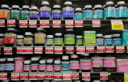 Blackmores Brand supplements stock shelves at a Mr Vitamins store in Sydney, Australia, March 9, 2017.  REUTERS/Jason Reed
