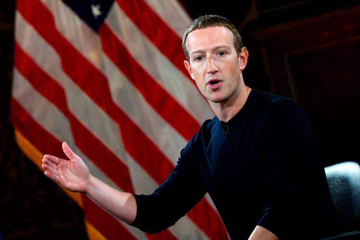 "Facebook CEO Mark Zuckerberg at Georgetown University in 2019. <span class=""copyright"">Andrew Caballero-Reynolds/AFP via Getty Images</span>"