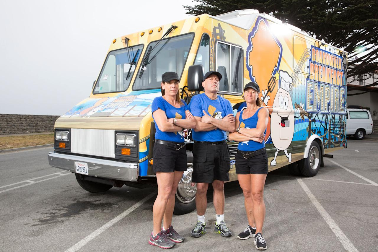 Team Boardwalk Breakfast Empire's Ilene Winters, Tim Boulous and Joanne Garelli as seen on Food Network's The Great Food Truck Race, Season 4.