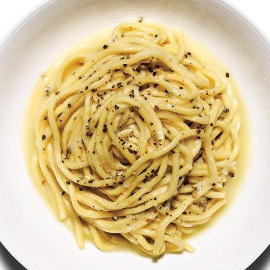 "<p><em>Cacio e pepe</em> is Italian for cheese and pepper. Alternate translations include ""freaking delicious"" and ""easiest dinner ever.""</p> <p>Get the recipe <a href=""https://www.bonappetit.com/recipe/cacio-e-pepe?mbid=synd_yahoo_rss"">here</a>.</p>"