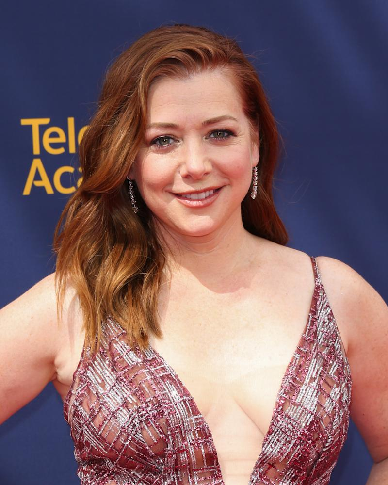 LOS ANGELES, CA - SEPTEMBER 08: Actress Alyson Hannigan attends the 2018 Creative Arts Emmy Awards - Day 1 at Microsoft Theater on September 8, 2018 in Los Angeles, California. (Photo by Paul Archuleta/FilmMagic)