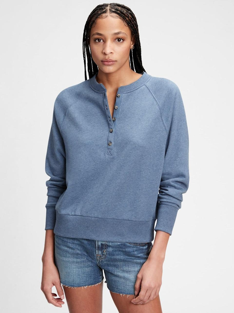 <p>I love the beachy style of this <span>Gap French Terry Henley Raglan Sweatshirt</span> ($55). It's perfect to pair with jeans in the spring and with your favorite shorts in the summer.</p>