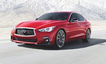 "<p>Thanks to its luxury counterparts seeing price increases for 2021, the <a href=""https://www.caranddriver.com/infiniti/q50"" rel=""nofollow noopener"" target=""_blank"" data-ylk=""slk:2021 Infiniti Q50"" class=""link rapid-noclick-resp"">2021 Infiniti Q50</a> is now featured on this list. Although the Q50 doesn't boast the sportiest attributes, it does come standard with a 300-horsepower twin-turbo V-6 engine and is offered with a 400-horsepower twin-turbo V-6. The Q50 provides a <a href=""https://www.caranddriver.com/reviews/a19600638/2018-infiniti-q50-30t-awd-test-review/"" rel=""nofollow noopener"" target=""_blank"" data-ylk=""slk:comfortable ride"" class=""link rapid-noclick-resp"">comfortable ride</a>, but the interior of the sedan does lack a luxury feel. And it doesn't help that the Q50's dual-infotainment screen system is difficult to operate.</p><ul><li>Engines: 300-hp twin-turbocharged 3.0-liter V-6; 400-hp twin-turbocharged 3.0-liter V-6 </li><li>Cargo space: 13 cubic feet </li></ul><p><a class=""link rapid-noclick-resp"" href=""https://www.caranddriver.com/infiniti/q50/specs"" rel=""nofollow noopener"" target=""_blank"" data-ylk=""slk:MORE Q50 SPECS"">MORE Q50 SPECS</a></p>"