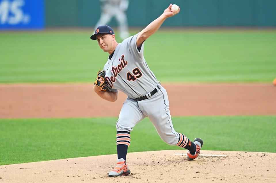 Tigers pitcher Derek Holland throws a pitch during the first inning on Friday, April 9, 2021, in Cleveland.