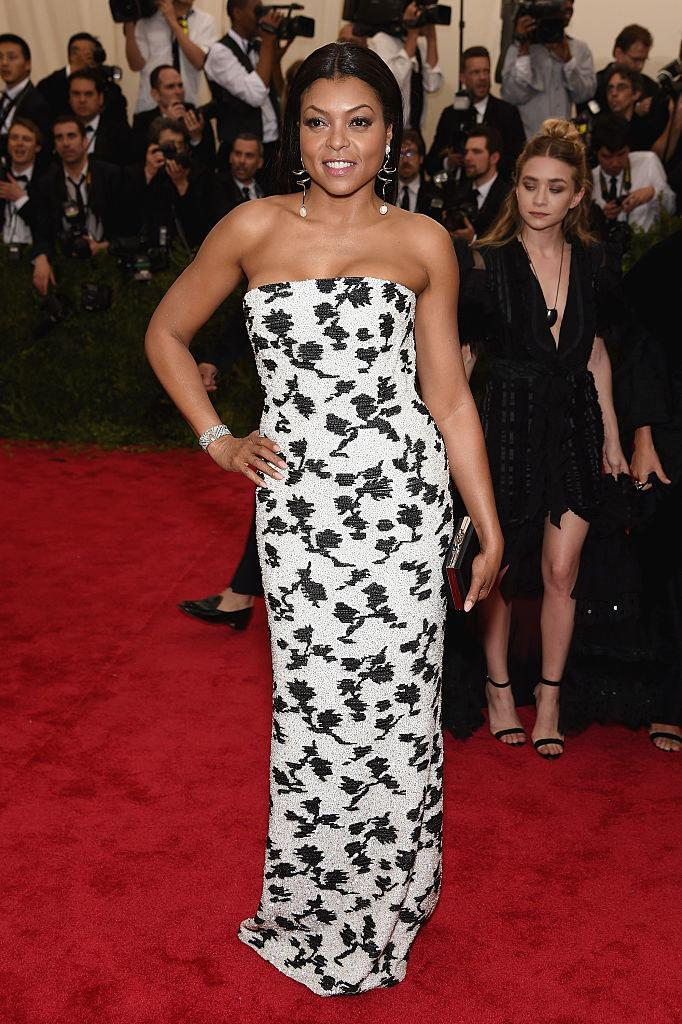 Taraji wore a sequined strapless dress with floral details