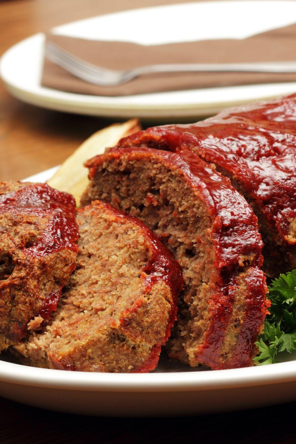"""<p>PSA: Meatloaf can be frozen for up to three months! Which means you should make a few batches at a time so you always have some in the freezer to heat up for a cozy meal, or slice cold into a sandwich. </p><p><a href=""""https://www.goodhousekeeping.com/food-recipes/a8442/healthy-makeover-meatloaf-ghk1107/"""" rel=""""nofollow noopener"""" target=""""_blank"""" data-ylk=""""slk:Get the recipe for Healthy Makeover Meatloaf »"""" class=""""link rapid-noclick-resp""""><em>Get the recipe for Healthy Makeover Meatloaf »</em></a></p>"""