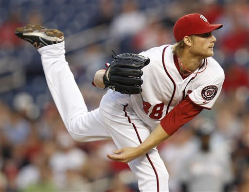 Washington Nationals starting pitcher Ross Detwiler delivers against the Miami Marlins during the second inning of a baseball game on Friday, April 20, 2012, in Washington. (AP Photo/Evan Vucci)