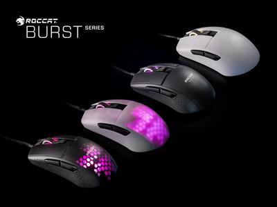 The new ROCCAT Burst series of PC gaming mice feature speed-of-light optical switches for unprecedented quickness and durability, lightweight translucent hoeycomb shells, impressive ergonomic shape and more