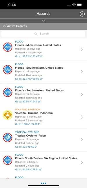 Screenshot of the Disaster Alert app showing a list of hazards nearby such as floods and volcano