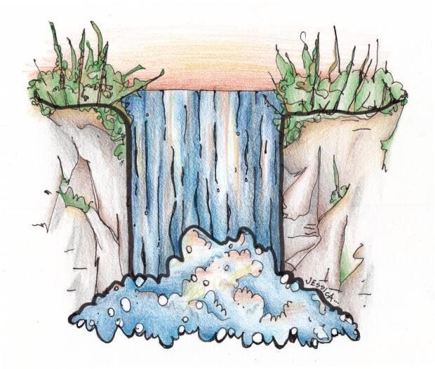 Artwork by Jessica Doyle depicting what Reversing Falls may have looked like prior to flooding.