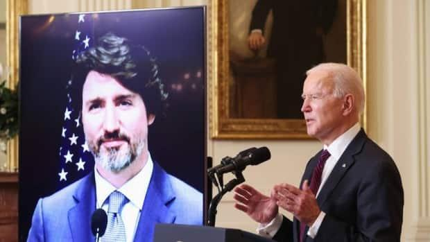 U.S. President Joe Biden, right, and Prime Minister Justin Trudeau, left, were two of many world leaders to commit to large emission cuts to address the climate crisis at the virtual Earth Day summit on April 22.