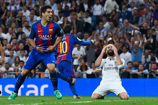 Lionel Messi celebrates his last-gasp winner