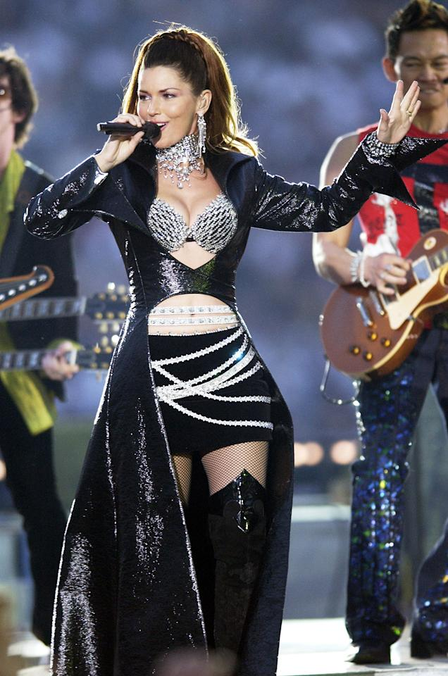 Shania Twain during Super Bowl XXXVII - AT&T Wireless Super Bowl XXXVII Halftime Show at Qualcomm Stadium in San Diego, California, United States. (Photo by KMazur/WireImage)