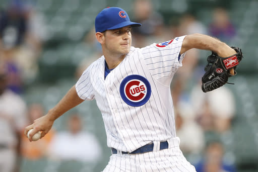 Chicago Cubs relief pitcher Jacob Turner delivers against the San Francisco Giants during the sixth inning of thecontinuationof abaseballgame that beganTuesday, on Thursday, Aug. 21, 2014, in Chicago. Tuesday'sgame was suspended in the fifth inning due to rain. (AP Photo/Andrew A. Nelles)