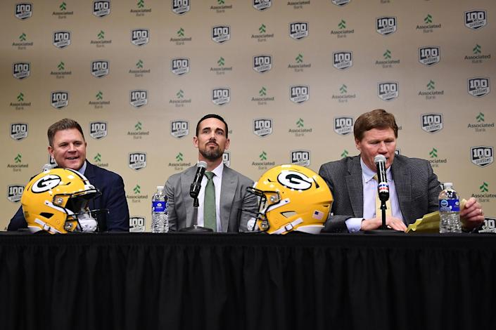 From left: Packers GM Brian Gutekunst, head coach Matt LaFleur and President and CEO Mark Murphy
