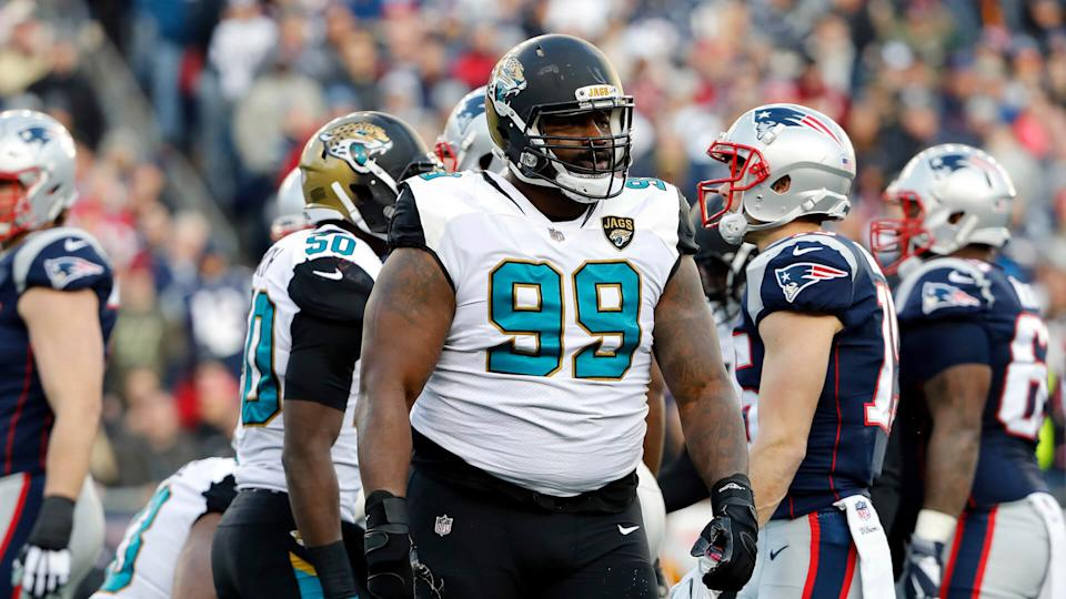 Mandatory Credit: Photo by Winslow Townson/AP/REX/Shutterstock (9335761af)Jacksonville Jaguars defensive tackle Marcell Dareus during the AFC Championship NFL football game against the New England Patriots at Gillette Stadium in Foxborough, MassJaguars Patriots Football, Foxborough, USA - 21 Jan 2018.