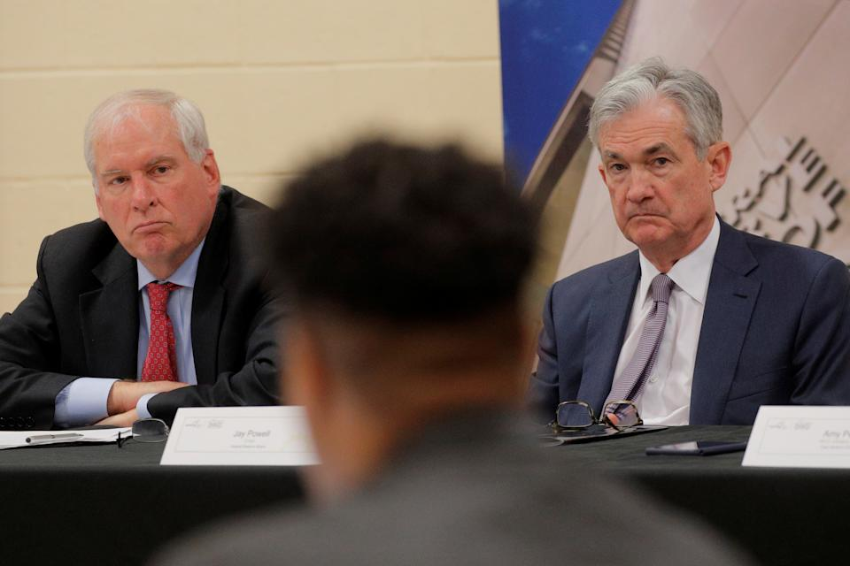 U.S. Federal Reserve Chair Jerome Powell and Federal Reserve Bank of Boston President Eric Rosengren attend a presentation by the East Hartford CONNects, a Working Cities Challenge initiative, and community residents' project at Silver Lane Elementary School in East Hartford, Connecticut, U.S., November 25, 2019. REUTERS/Brendan McDermid