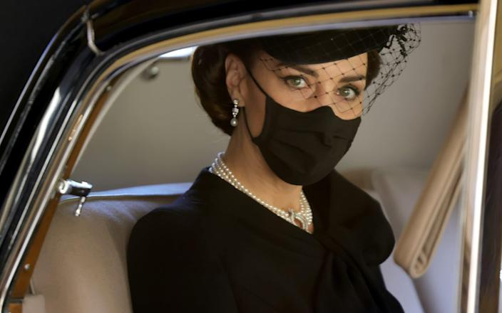 The Duchess of Cambridge during the funeral of Prince Philip