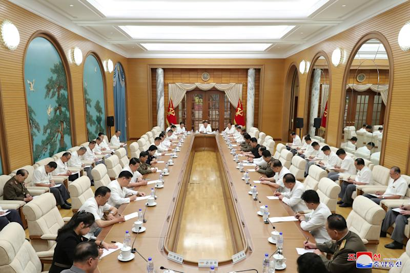 North Korean leader Kim Jong Un attends an enlarged meeting of the Political Bureau of the 7th Central Committee of the Workers' Party of Korea (WPK), in Pyongyang, North Korea.