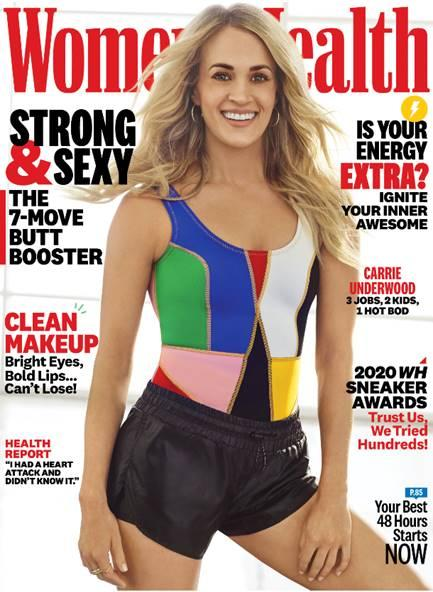 Underwood shares her diet and workout secrets in the April issue of Women's Health. (Photo: Peggy Sirota/Women's Health)