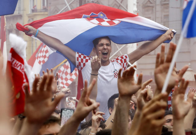<p>Fans of Croatia national football team before the Final match on July 15, 2018 in Zagreb, Croatia. This is the first time Croatia has reached the final of the Football World Cup.(Getty Images) </p>