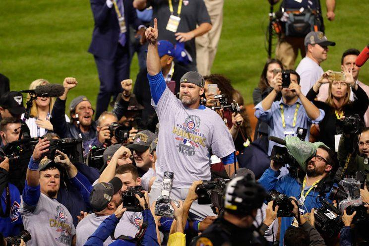 CLEVELAND, OH - NOVEMBER 02: David Ross #3 of the Chicago Cubs celebrates after defeating the Cleveland Indians 8-7 in Game Seven of the 2016 World Series at Progressive Field on November 2, 2016 in Cleveland, Ohio. The Cubs win their first World Series in 108 years. (Photo by Jamie Squire/Getty Images)