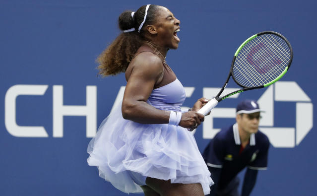 Serena Williams reacts after winning a point against Kaia Kanepi, of Estonia, during the fourth round of the U.S. Open tennis tournament, Sunday, Sept. 2, 2018, in New York. (AP Photo/Carolyn Kaster)