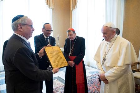 Pope Francis meets with members of the American Jewish Committee at the Vatican, March 8, 2019. Vatican Media/Handout via REUTERS