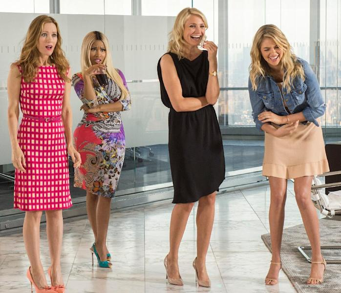 """This image released by 20th Century Fox shows Leslie Mann, from left, Nicki Minaj, Cameron Diaz and Kate Upton in a scene from """"The Other Woman."""" (AP Photo/20th Century Fox, Barry Wetcher)"""