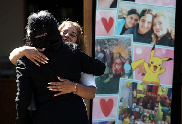PHOTO: Mourners embrace before the start of funeral services for 13-year-old Keyla Salazar at Our Lady of Guadalupe Church on August 06, 2019, in San Jose, Calif. (Justin Sullivan/Getty Images)