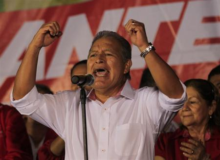 Salvador Sanchez Ceren, presidential candidate for the Farabundo Marti Front for National Liberation (FMLN), speaks to his supporters after the official results in San Salvador