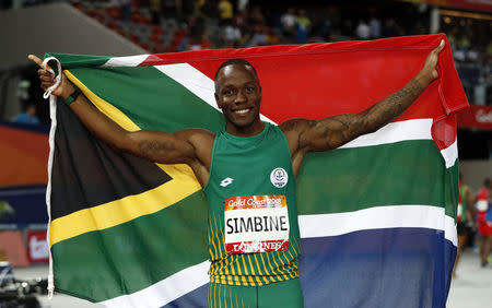 Gold medalist Akani Simbine of South Africa. REUTERS/Paul Childs