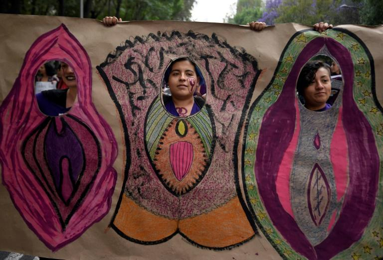Women commemorate International Women's Day on Reforma Avenue in Mexico City
