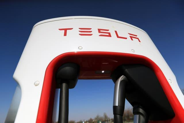 An electric charging port for a Tesla