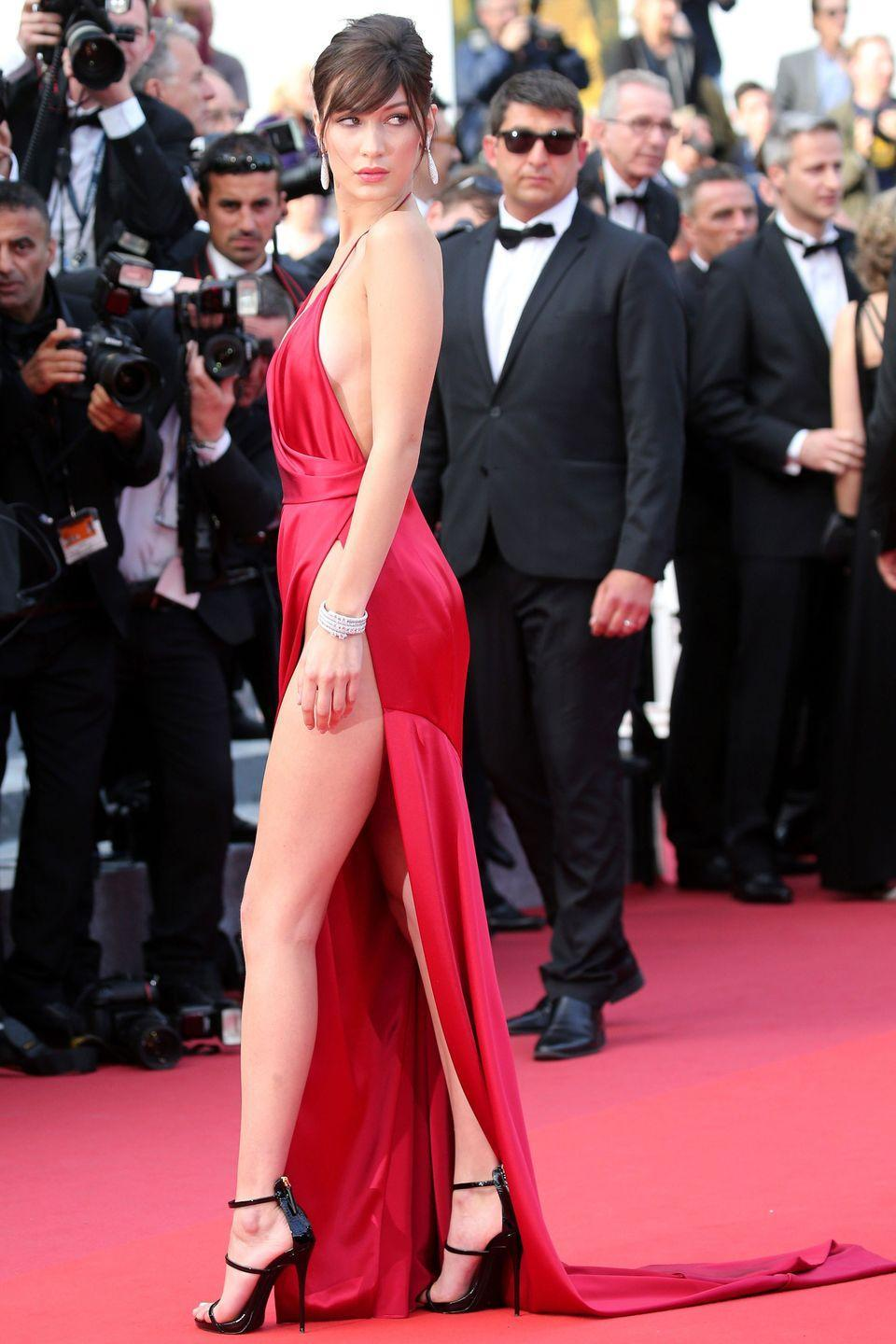 <p>In custom Alexandre Vauthier gown at <em>The Unknown Girl (La Fille Inconnue)</em> premiere during the 69th annual Cannes Film Festival in Cannes, France.</p>