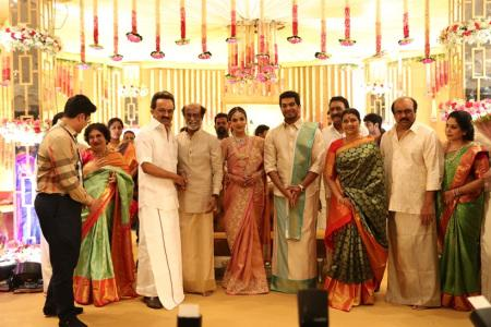 MK Stalin at soundarya rajinikanth Vishagan Vanangamudi's wedding