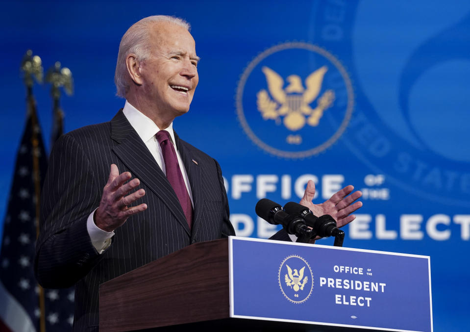 President-elect Joe Biden announces former South Bend, Ind. Mayor Pete Buttigieg as his nominee for transportation secretary during a news conference at The Queen theater in Wilmington, Del., Wednesday, Dec. 16, 2020. (Kevin Lamarque/Pool via AP)