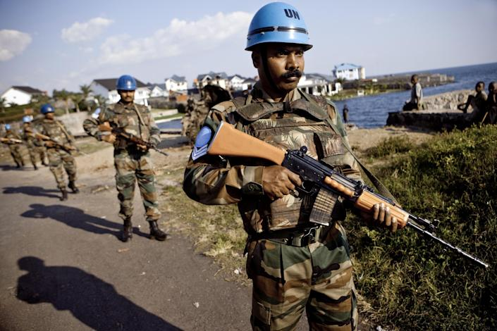 Indian soldiers from the UN mission in DR Congo (MONUC) patrol in Goma, North Kivu province, on June 9, 2010 (AFP Photo/Gwenn Dubourthoumieu)