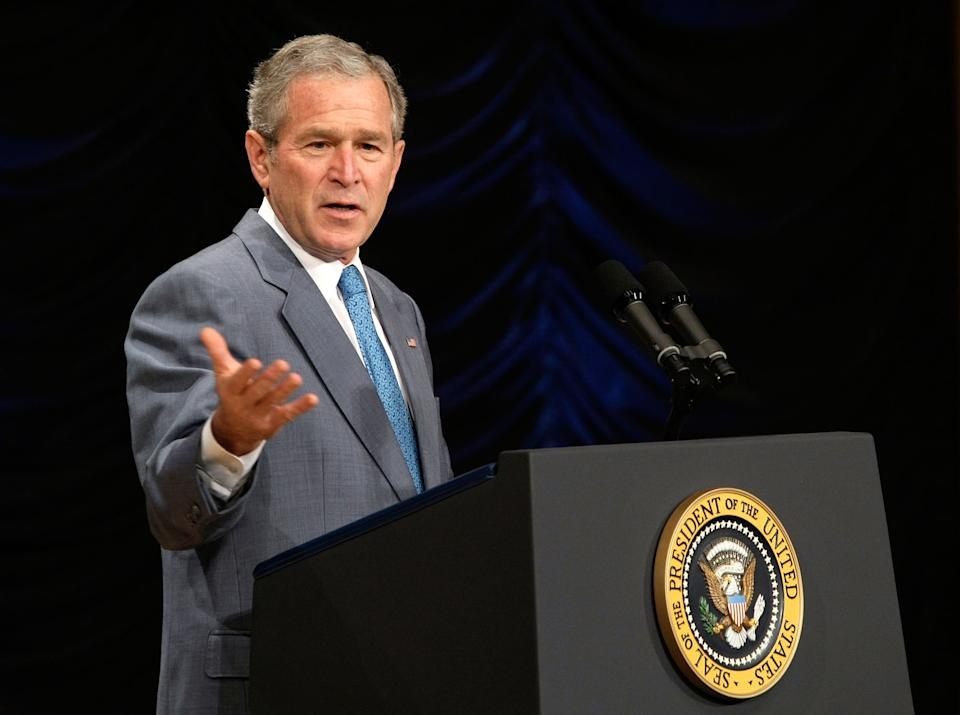 WASHINGTON - APRIL 24:  U.S. President George W. Bush addresses the White House Summit on Inner-City Children and Faith-Based Schools at Ronald Reagan Building and International Trade Center April 24, 2008 in Washington, DC. Bush spoke to educators, clergy, philanthropists and business leaders on helping faith-based schools from closures. According to the National Center for Education Statistics, about 1,200 urban faith-based schools have closed their doors between 2000 and 2006 and that affected more than 400,000 students.  (Photo by Alex Wong/Getty Images)