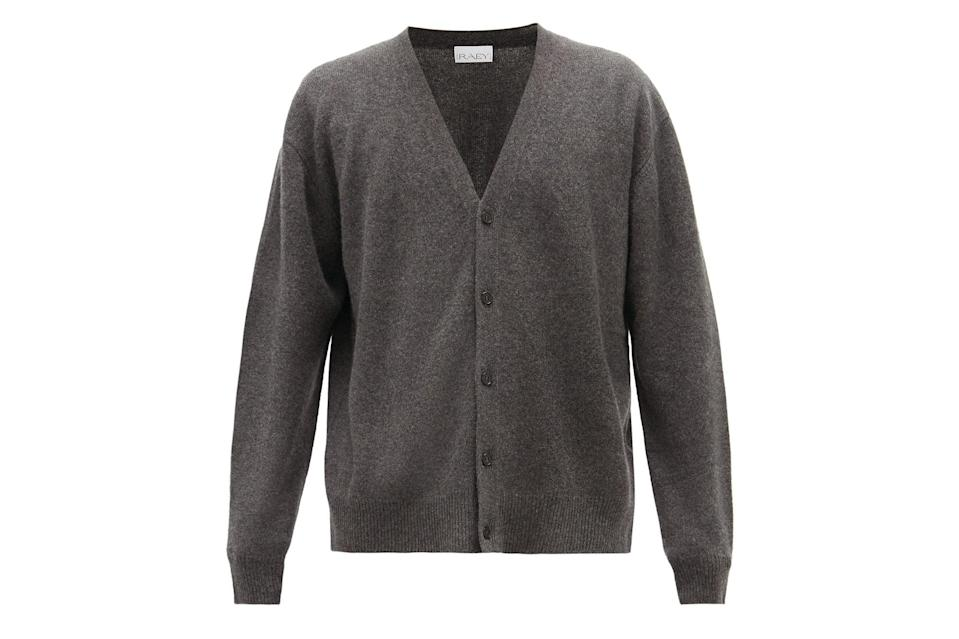 """Think of a cardigan like a frame and your favorite band tee as the painting.<br> <br> <em>Raey loose-fit cashmere cardigan</em> $330, Matches Fashion. <a href=""""https://www.matchesfashion.com/us/products/Raey-Loose-fit-cashmere-cardigan-1358044"""" rel=""""nofollow noopener"""" target=""""_blank"""" data-ylk=""""slk:Get it now!"""" class=""""link rapid-noclick-resp"""">Get it now!</a>"""