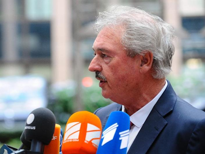 Foreign Minister of Luxembourg Jean Asselborn speaks to the press during a Justice and Home Affairs Council at the EU headquarters in Brussels on September 14, 2015 (AFP Photo/John Thys)