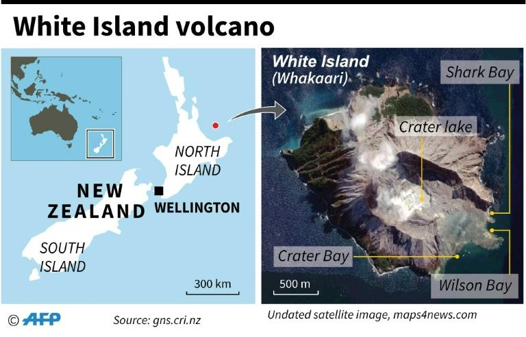 Map locating the White Island (Whakaari) volcano in New Zealand