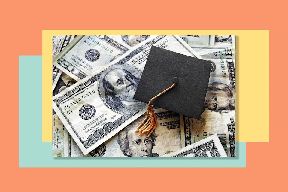 An image of a graduation cap on top of money.
