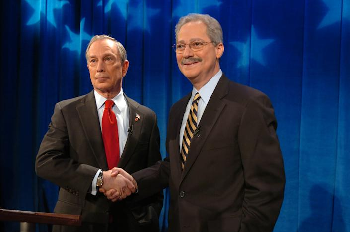 New York City Mayor Michael Bloomberg, left, shakes hands with his Democratic challenger Fernando Ferrer prior to their first televised debate at WABC-TV studios in Manhattan  Sunday, Oct. 30, 2005 in New York. (Bryan Smith/AP)