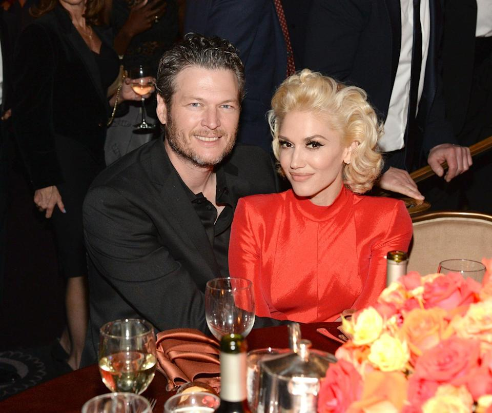 "<p>After rumors kept circling - along with paparazzi snaps of the co-stars looking very cozy at parties - Shelton's reps finally confirmed to <strong>E! News</strong> that <a href=""http://www.eonline.com/news/713073/blake-shelton-and-gwen-stefani-are-dating"" class=""link rapid-noclick-resp"" rel=""nofollow noopener"" target=""_blank"" data-ylk=""slk:he and Stefani were an item"">he and Stefani were an item</a>. They stayed fairly low-key for a while, only starting to step out together in early 2016, like this photo at a pre-Grammys party. </p>"