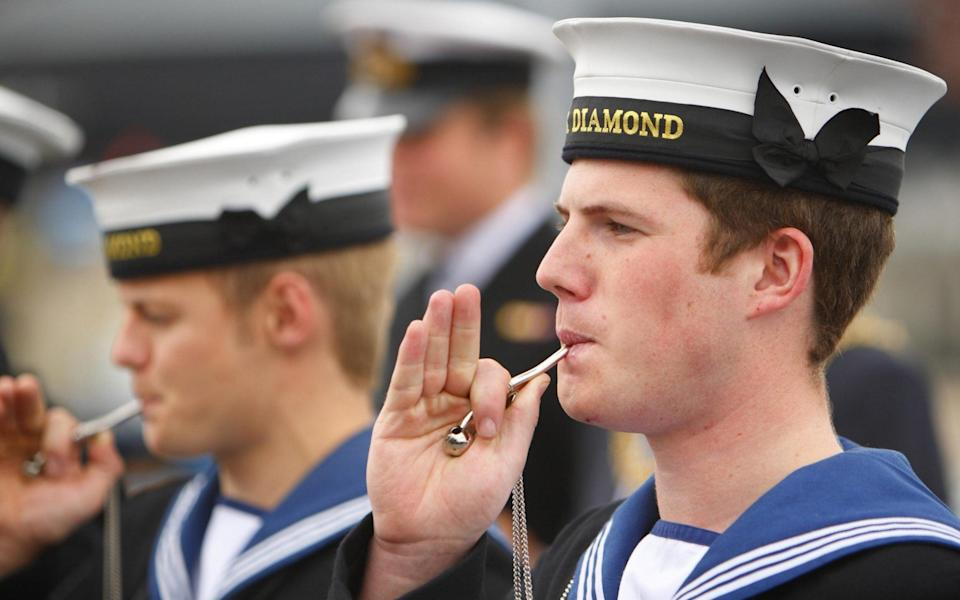 VIPs are piped aboard HMS Diamond during a street-party aboard the ship in Portsmouth's Royal Navy Dockyard, - PA