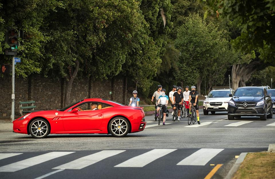Bicyclists and motorists on San Vicente Boulevard in Brentwood.