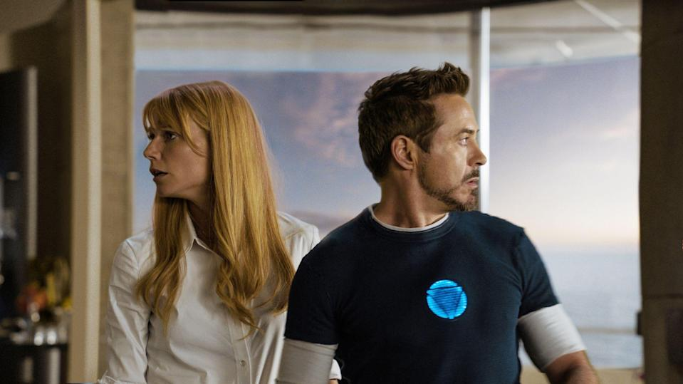 Gwyneth Paltrow and Robert Downey Jnr as Pepper Potts and Tony Stark