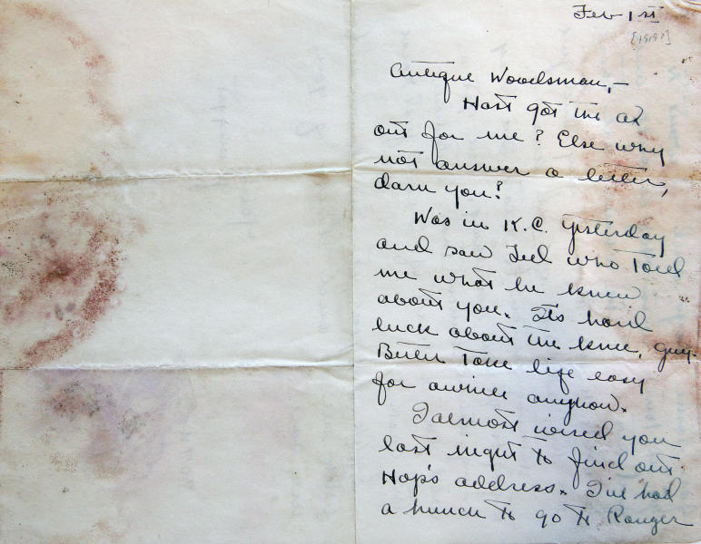 This Sept. 11, 2012, photo shows a letter sent to Ernest Hemingway from boyhood friend Carl Edgar around 1919, a part of the Hemingway collection at the John F. Kennedy Library and Museum, in Boston, that is being sent out for restoration. Among letters written to Ernest Hemingway slated for repair are dispatches from public figures including Hollywood stars Ingrid Bergman and Marlene Dietrich, writers F. Scott Fitzgerald and Gertrude Stein, and Hemingway's editor Max Perkins. (AP Photo/Stephan Savoia)